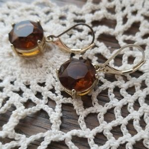 Caramel large crystal drop earrings Jennifer Lopez